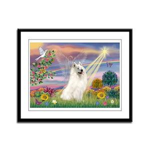 Cloud Angel & Samoyed Framed Panel Print
