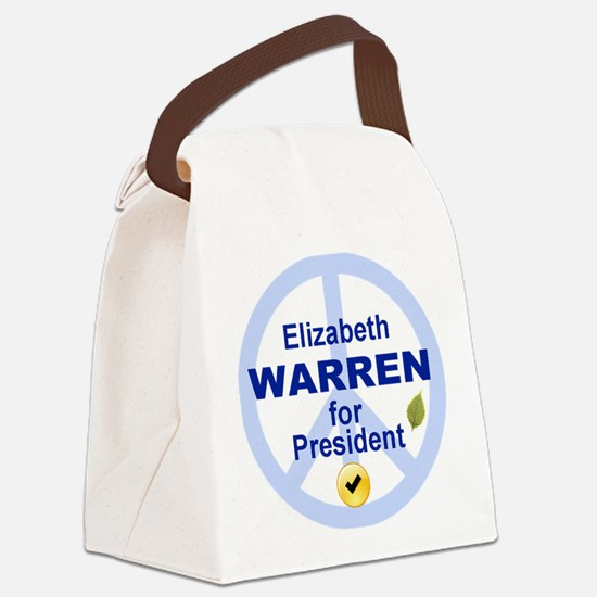 Elizabeth Warren and peace sign Canvas Lunch Bag
