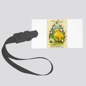 Easter Greetings Chick and Pussy Large Luggage Tag