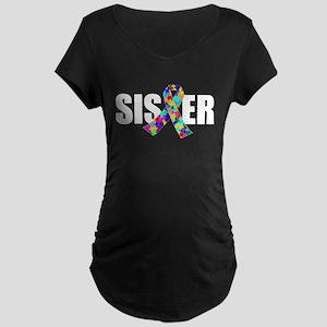 Autism Sister Maternity Dark T-Shirt