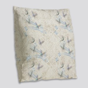 Dragonfly Garden Burlap Throw Pillow