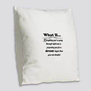 What If Burlap Throw Pillow