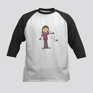 Brunette Female Nurse Kids Baseball Jersey