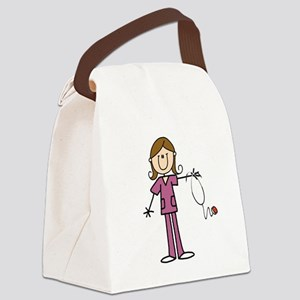 Brunette Female Nurse Canvas Lunch Bag