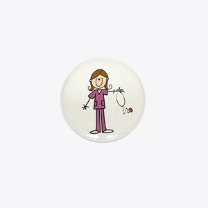 Brunette Female Nurse Mini Button