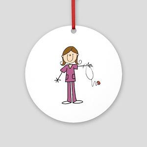 Brunette Female Nurse Ornament (round)