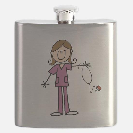 Brunette Female Nurse Flask
