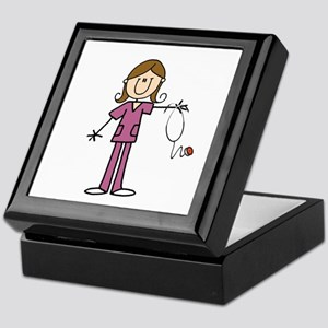Brunette Female Nurse Keepsake Box