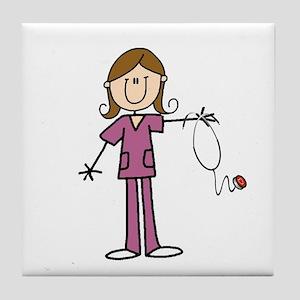 Brunette Female Nurse Tile Coaster