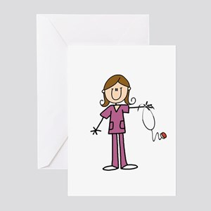 Brunette Female Nurse Greeting Cards (pk Of 10)