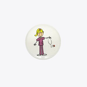 Blond Female Nurse Mini Button