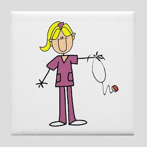 Blond Female Nurse Tile Coaster