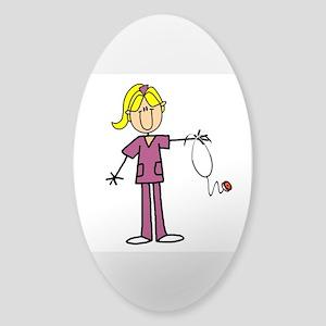 Blond Female Nurse Sticker (Oval)