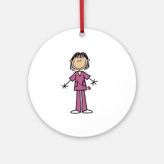Asian Female Nurse Ornament (round)