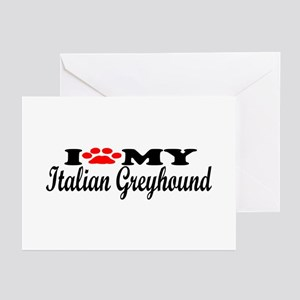 Italian Greyhound - I Love My Greeting Cards (Pk o
