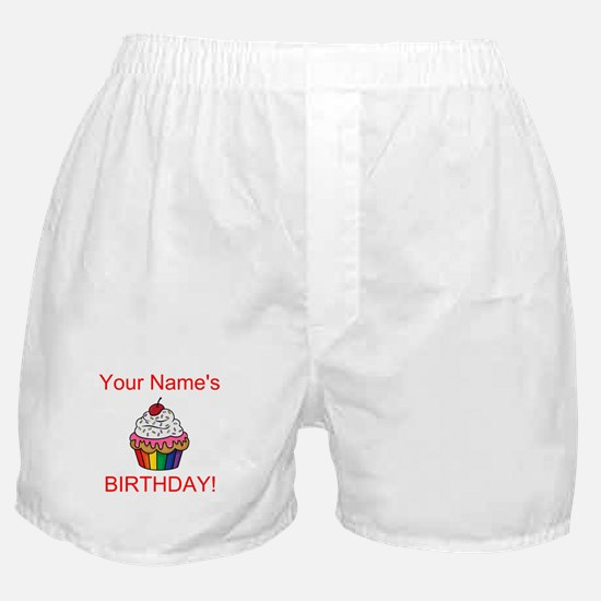 CUSTOM Your Names Birthday Cupcake Boxer Shorts