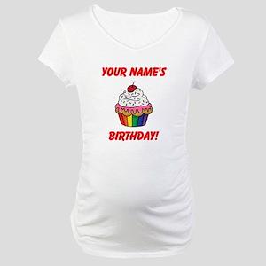 CUSTOM Your Names Birthday Cupcake Maternity T-Shi