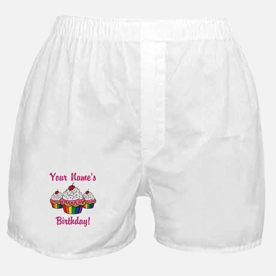CUSTOM Your Names Birthday Cupcakes Boxer Shorts