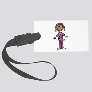 African American Female Nurse Large Luggage Tag