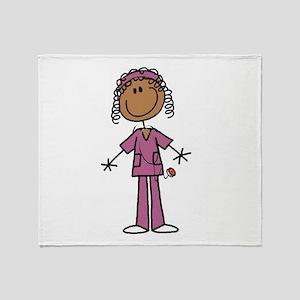 African American Female Nurse Throw Blanket