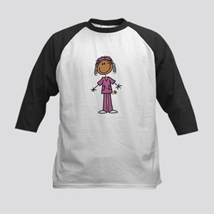 African American Female Nurse Kids Baseball Jersey