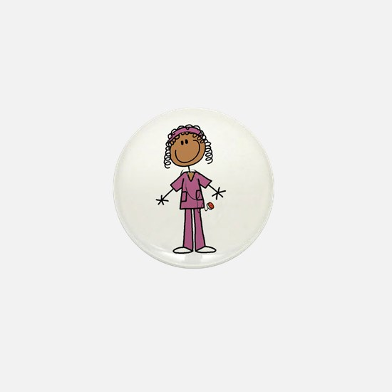 African American Female Nurse Mini Button