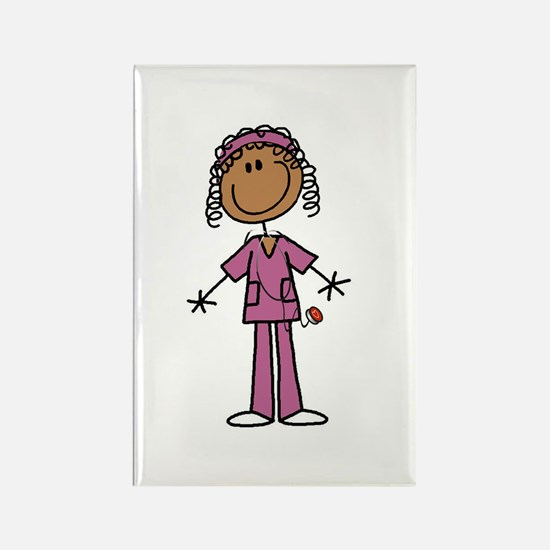 African American Female Nurse Rectangle Magnet