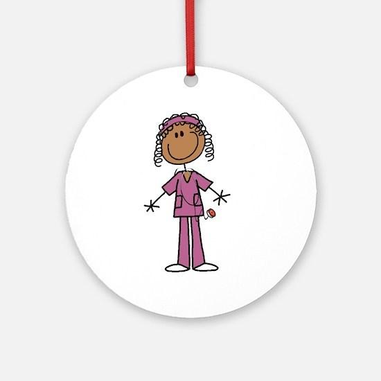 African American Female Nurse Ornament (Round)
