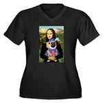 Mona & Sir Pug Women's Plus Size V-Neck Dark T-Shi