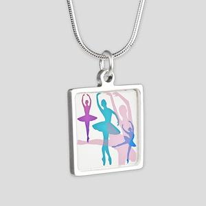 Pretty Dancing Ballerinas Silver Square Necklace