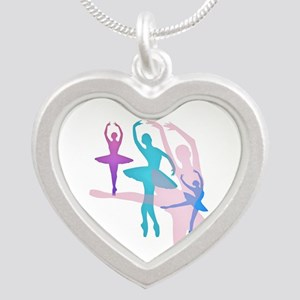 Pretty Dancing Ballerinas Silver Heart Necklace
