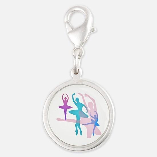 Pretty Dancing Ballerinas Silver Round Charm