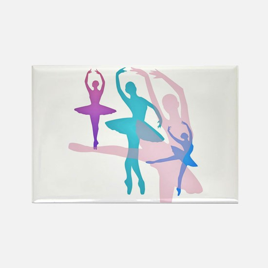Pretty Dancing Ballerinas Rectangle Magnet