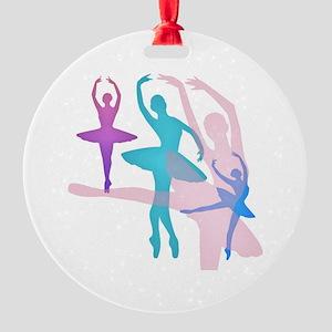 Pretty Dancing Ballerinas Round Ornament