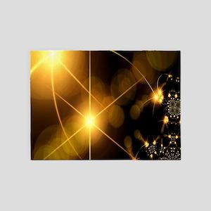 Golden Stars Fractal 5'x7'Area Rug