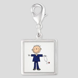 Male Nurse Silver Square Charm
