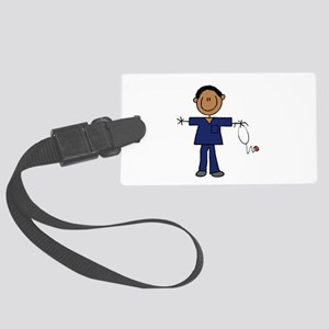 African American Male Nurse Large Luggage Tag