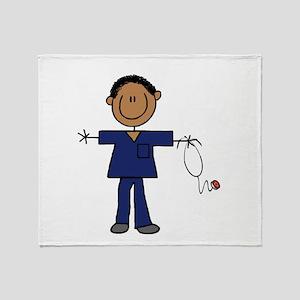 African American Male Nurse Throw Blanket