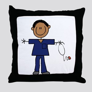 African American Male Nurse Throw Pillow