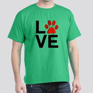 Love Dogs / Cats Pawprints Dark T-Shirt
