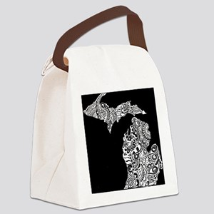 Michigan white on black Canvas Lunch Bag