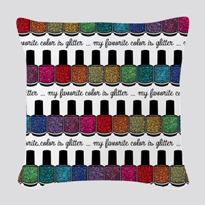 My Favorite Color Is Glitter 2 Woven Throw Pillow