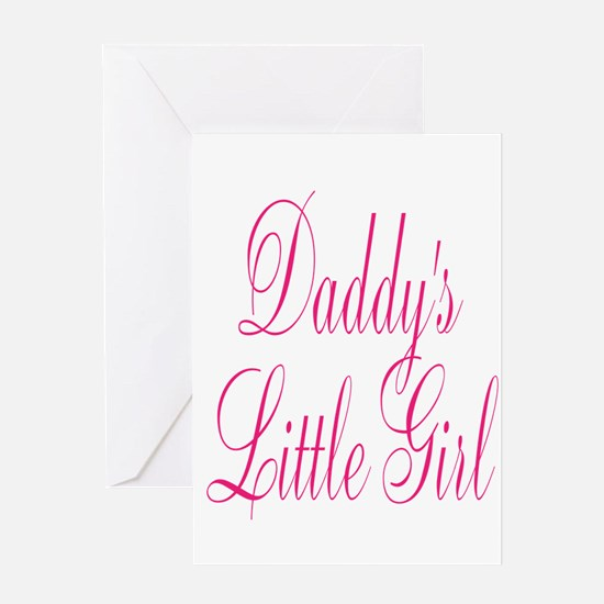 Daddys Little Girl Pink Large Script Greeting Card