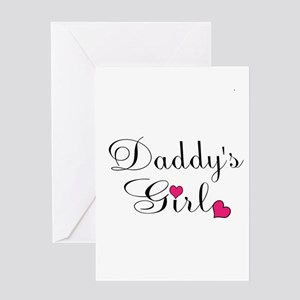 Daddys Girl Pink Hearts Greeting Cards
