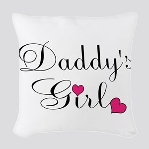 Daddys Girl Pink Hearts Woven Throw Pillow
