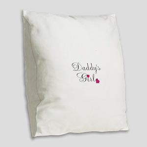 Daddys Girl Pink Hearts Burlap Throw Pillow