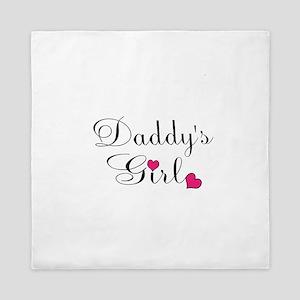 Daddys Girl Pink Hearts Queen Duvet