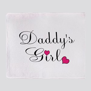 Daddys Girl Pink Hearts Throw Blanket