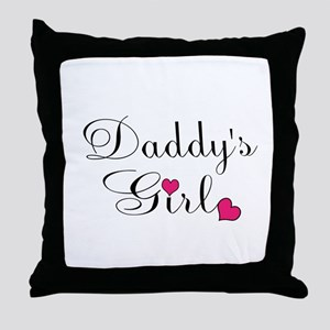 Daddys Girl Pink Hearts Throw Pillow