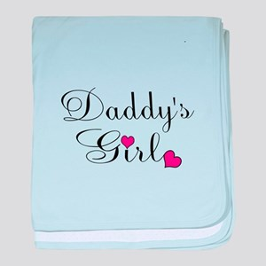 Daddys Girl Pink Hearts baby blanket
